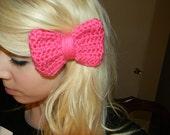 Crochet Hot Pink Bow Hair clip
