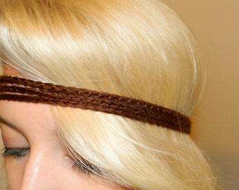 Crochet Brown Headband-  Hippie headband- Pick your color- Adjustable