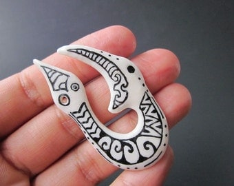 Maori Style Fish Hook Pendant - Tattooed Bone - Balinese - Tribal - Island - Unisex - Mens