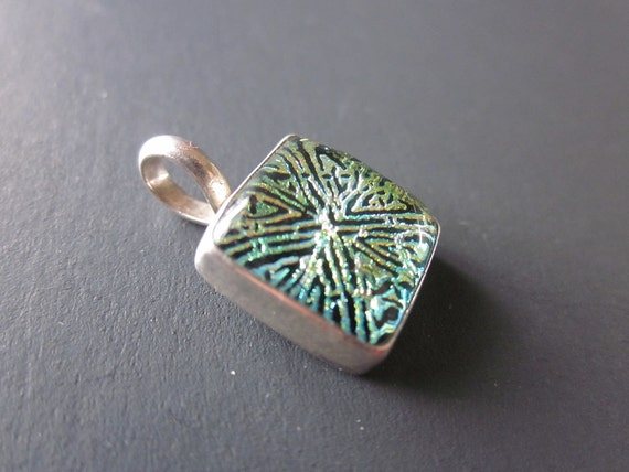 Petite Celtic Square Dichroic Glass & Sterling Silver Pendant