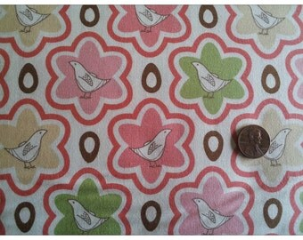 Pear Tree by Thomas Knauer for Andover Fabrics, Pretty Partridge in Flowers in Pink on Cream