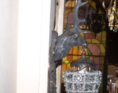 excellent pair of deer head sconces ,stag sconces, of brass and glass crystals,free shipping