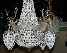 deer chandelier,deer lighting,gorgeous deer chandelier,deer antler chandelier, mule antler chandelier. glass,brass,blow out price