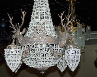 deer antler chandelier,deer head lighting,deer chandelier,deer antler chandelier,mule antler chandelier.empirestyle, glass,brass