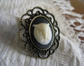 Ivory, Black and Bronze Owl Cameo Brooch