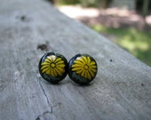 Black and Yellow Glass Sunflower Stud Earrings Gifts Under 25