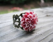 Dahlia Ring White and Red Gifts Under 10
