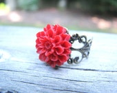 Red Dahlia Filigree Ring Gifts Under 10 - studEo