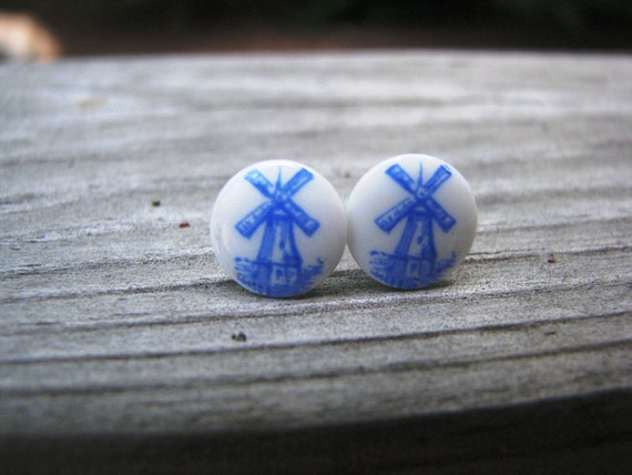 Blue and White Stud Earrings Dutch Windmill Gifts Under 25