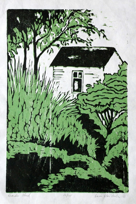 Garden Shed, relief woodcut