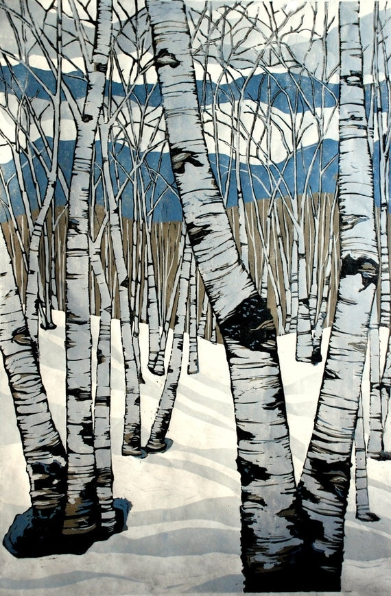 Northern Shadows, large relief woodcut