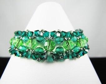 Emerald Swarovski Crystals and Teal Fire Polish Bracelet