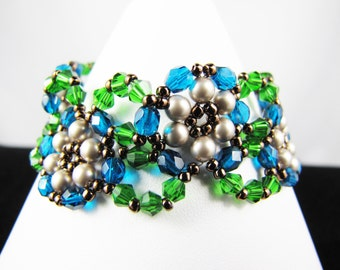 Fern Green Swarovski Crystals and Platinum Pearls with Teal Fire Polish Woven Bracelet