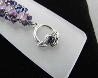 Violet and Rose Swarovski Crystals and Amethyst Bead Woven Bracelet