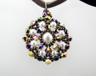 Vitrail AB2X Swarovski Crystals and Cream Pearls Medallion Beaded TCJG