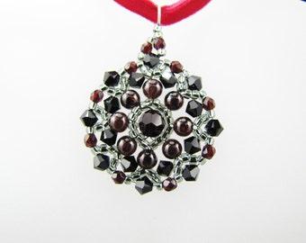 Jet Swarovski Crystals Garnet Gemstone Medallion Beaded TCJG