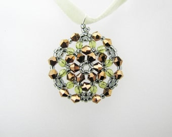 Dorado AB2X Swarovski Crystals and Fire Polish Medallion Beaded