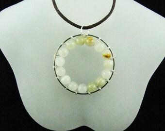 Silver Circle of Life Italian Onyx Gemstone Pendant