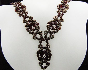 Siam Swarovksi Crystal and Garnet Fire Polish Bead Woven Necklace