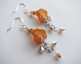 Sand Opal AB2X Swarovski Crystal Orange Lucite Lily Chain Dangle Earrings TCJG