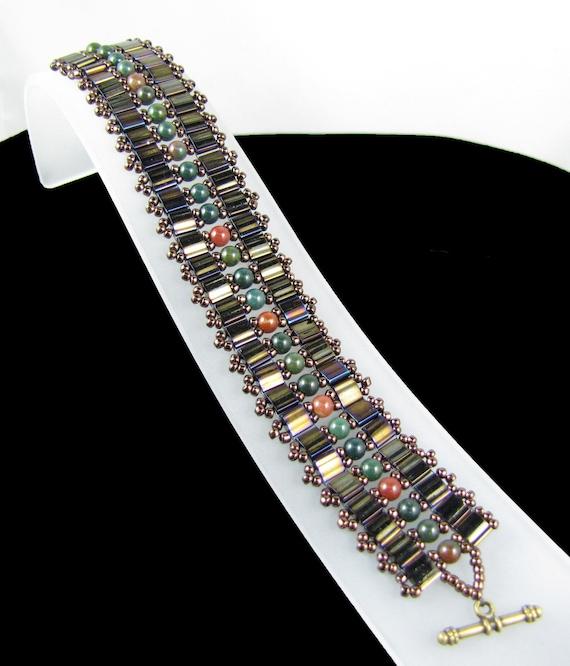 Miyuki Tila Band Bead Woven Bracelet Bloodstone Gemstone