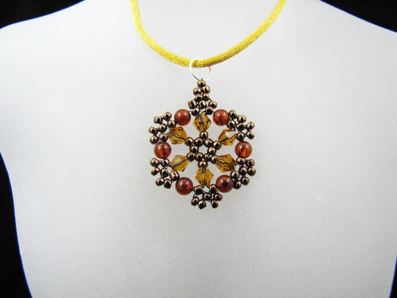 Sunflower Swarovski Crystals and Amber Gemstones Beaded