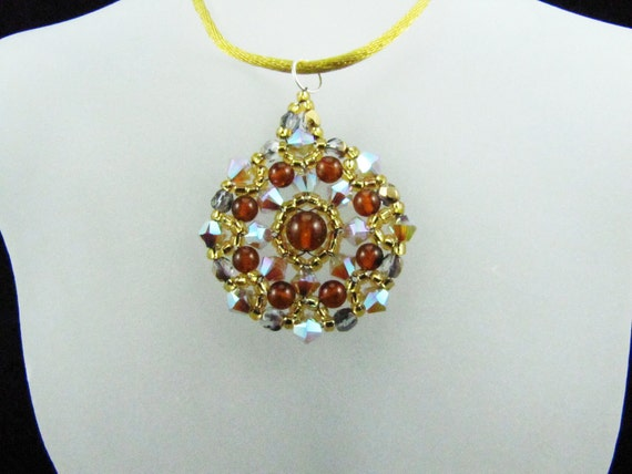 Sand Opal AB2X Swarovski Crystal and Amber Gemstones Medallion Beaded