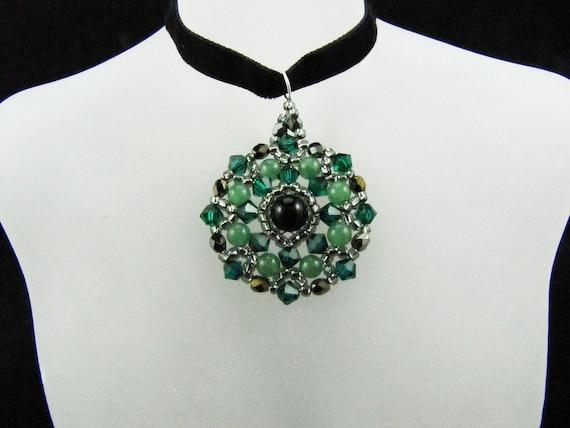 Emerald Swarovski Crystal Black Onyx and Aventurine Gemstones Medallion Beaded TCJG