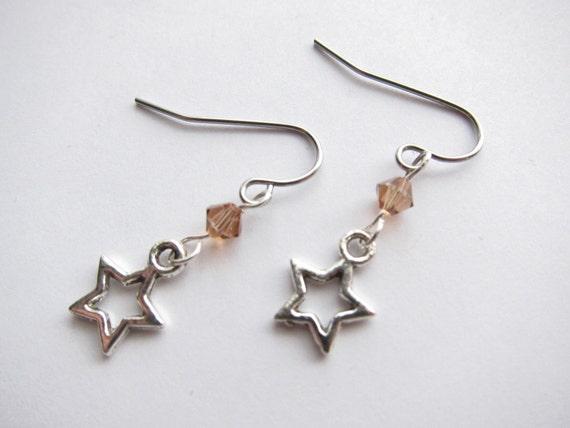 Light Colorado Topaz Swarovski Crystal Rock Star Drop Dangle Earrings