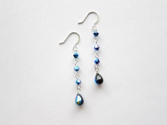 Swarovski Mocca AB 2X Crystal and Jet Black Blue Iris Glass Teardrop Earrings