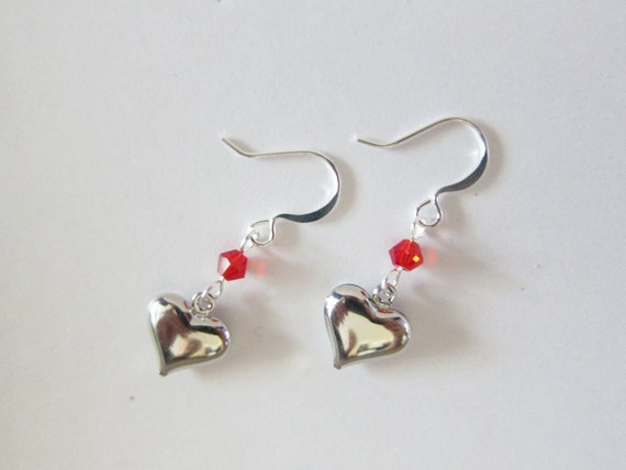 Swarovski Crystal Indian Red Antiqued Silver Puffy Heart Dangle Earrings