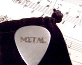 """Music in the word of  """"Metal"""" Hand Etched Guitar Pick - 2 sided"""
