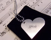 """Music in the word of  """"glee"""" Hand Etched Heart Necklace- 2 sided"""