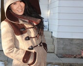 Tweed Duffle Coat with Patch Pockets and Leather Trim
