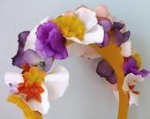 Bright Yellow Flower Fairy Headband - girls, womens, bridal blooms, princess
