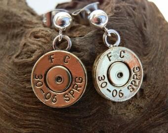 30-06 Bullet on  Hollow 4mm Sterling Sliver Ball Post Earrings