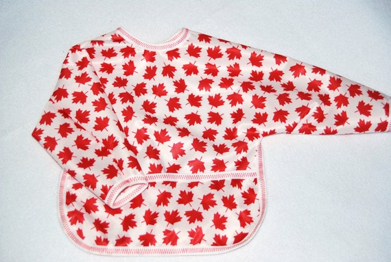 Shirt Saver Full Coverage Baby Bib With Long Sleeves and Pocket - Maple Leaf