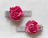 Black and White Polka Dot Grossgrain Ribbon Hair Clips with Dark Pink Flower Embellishments