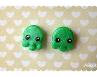 Cthulhu / Octopus Stud Earrings - Kawaii Handmade