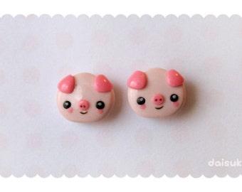 Kawaii Pigs Stud Earrings - Cute Polymer Clay