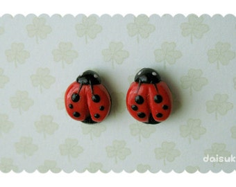 Kawaii Ladybugs / Ladybirds- handmade stud earrings - Polymer Clay