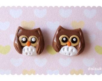 Kawaii Owl earrings - Handmade - studs