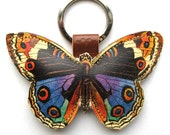 Leather keychain / bag charm - Butterfly