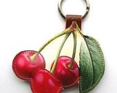 Leather keychain / bag charm - Cherry