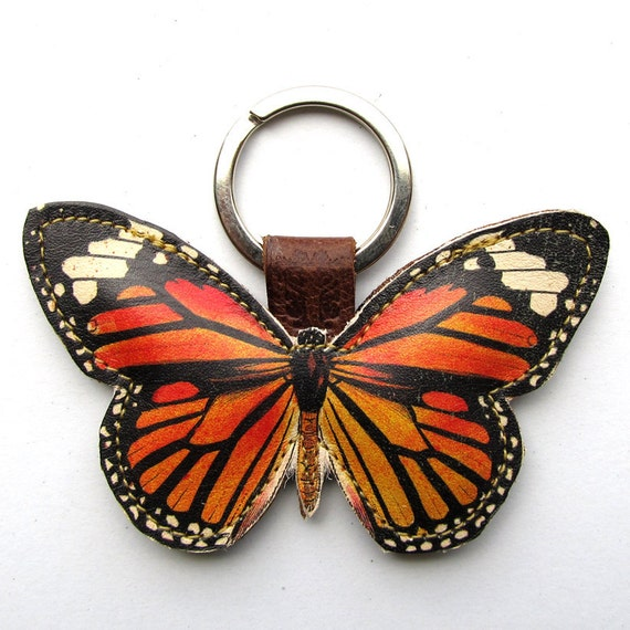 Leather keychain/ bag charm - Monarch butterfly
