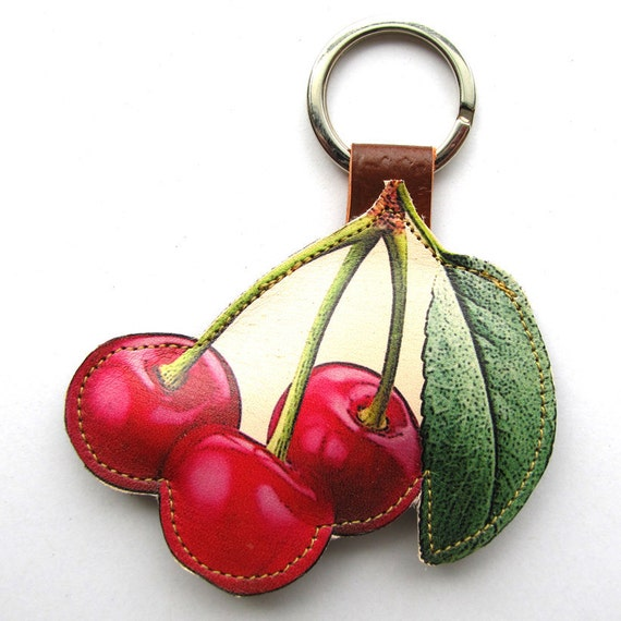 Leather keychain / bag charm - Cherry