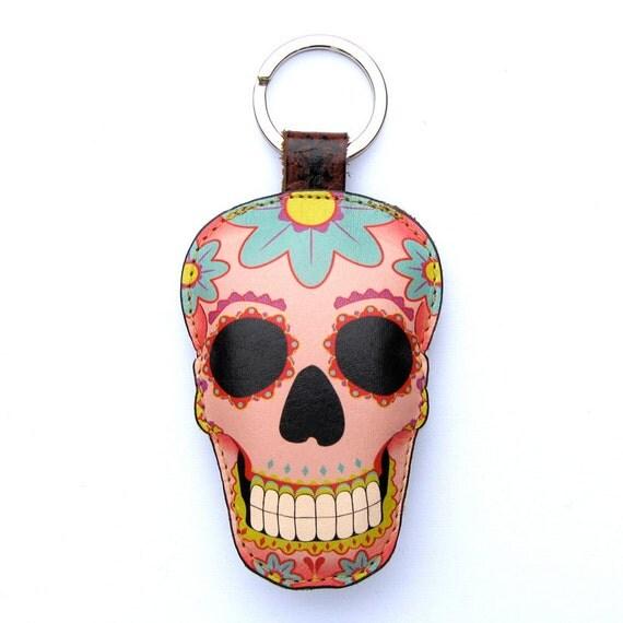 Leather Sugar skull keychain / keyring / bag charm