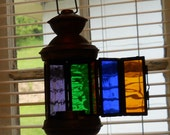 Stained Glass Candle Holder Made From Upcycled Rescued Metal Candle Holder