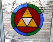 Stained Glass Suncatcher inspired from Zelda with a Triforce in the center, Shipped Fast by Priority Mail