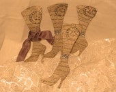 Vintage Inspired Walnut Stained Dress Boots Gift Tag Set of 5 Paris Haute Couture ECS
